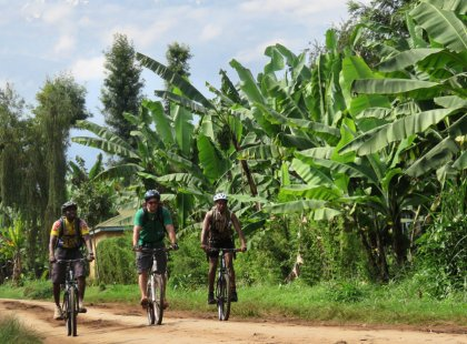 Cycling the slopes of Mount Kilimanjaro, we stay on an organic coffee farm and ride past villages and local markets.