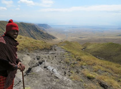 Our hike descends from the edges of the Ngorongoro Highlands to the southern reaches of Lake Natron.