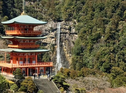 Walk the well-worn stone steps to the grand shrine at Nachi Falls, the highest unbroken waterfall in Japan.
