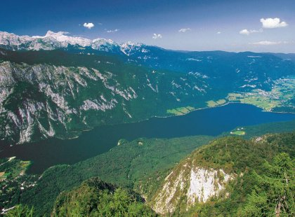 Views of vast Lake Bohinj and its neighboring Iron Age settlements below present travelers with a dramatic, sweeping panorama of classic Eastern Europe.