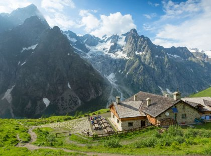 From village inns to a spectacularly situated mountain hut, we sleep comfortably each night.