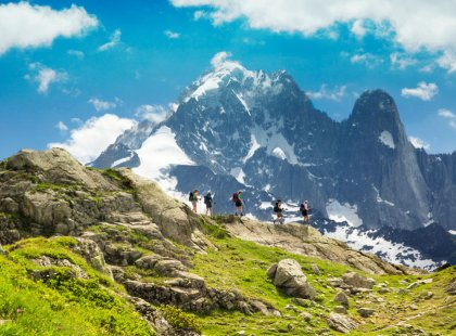 Magnificent views of rocky spires and glaciers draping the Mont Blanc massif are daily highlights.