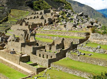 The massive yet refined architecture of Machu Picchu blends exceptionally well with the stunning natural environment.