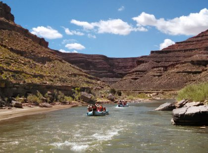 Take a 26-mile scenic float trip on the San Juan River, on the southern border of Utah's Bears Ears National Monument.