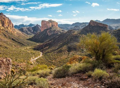 Hike your way through Arizona's Superstition Mountains on a 4-day, one-way guided backpacking trip.
