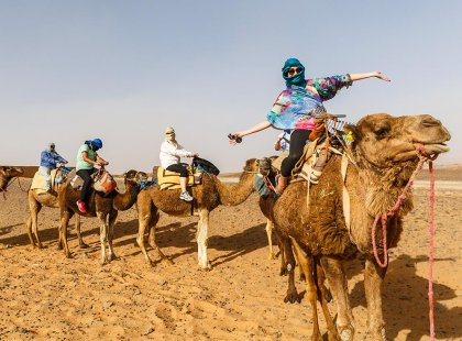 Travellers riding camels in Sahara Desert, Morocco