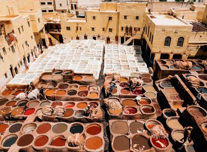Leather tanneries and city buildings view, Fes, Morocco
