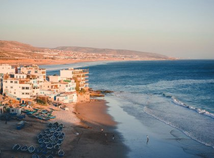 view of Taghazout at sunset, Morocco
