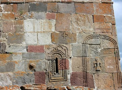 Some of the ancient carvings on the Gergeti Trinity Church in Georgia