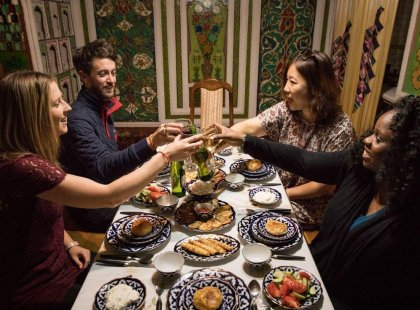 Experience a homestay dinner in Uzbekistan with Intrepid Travel