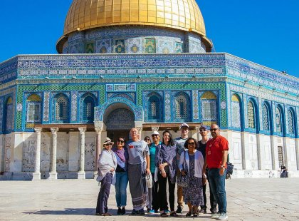 Group of travellers standing in front of Dome of the Rock, Al Aqsa Mosque, Jerusalem, Israel