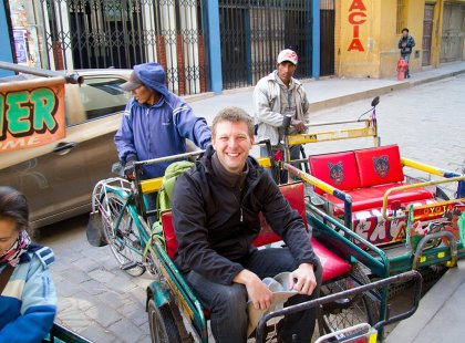 Catching a ride in a Peruvian taxi