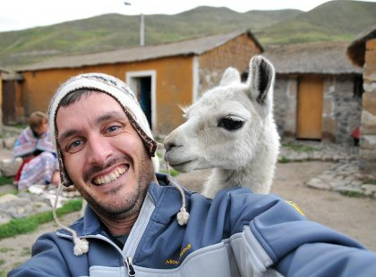 A close encounter with a llama in Peru