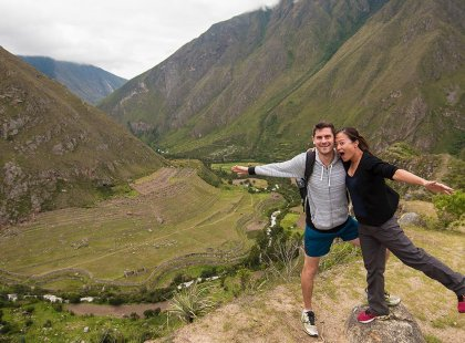 Traveller couple along Inca Trail, Machu Picchu, Peru
