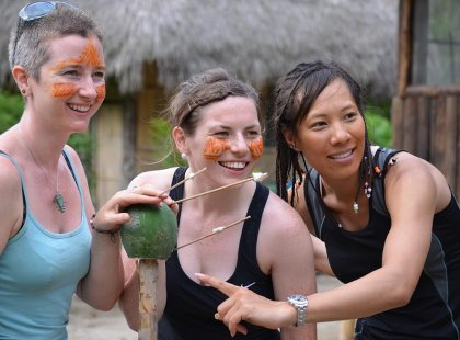 Ecuador Shiripuno Lodge pax three girls in jungle