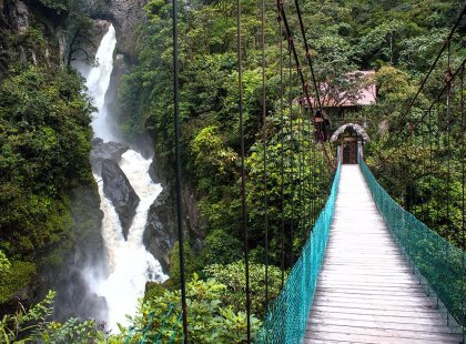 ecuador banos waterfall bridge jungle