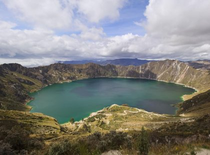 Panoramic view of volcanic Quilotoa lagoon, Ecuador