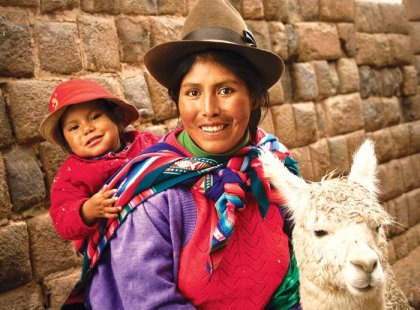 Mother, child and Llama in Cuzco, Peru