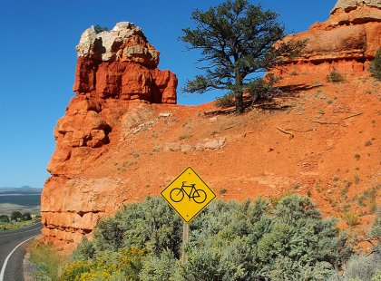 A spin through the La Sal Mountain loop offers spectacular views of the valley below and the meandering Colorado River.