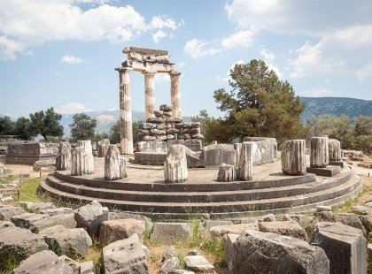 Greece, Delphi, Ruins, Sanctuary of Athena Pronaia