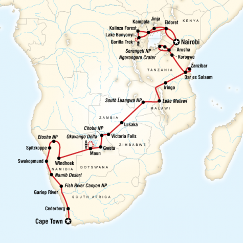 Ultimate Africa - Tour Map
