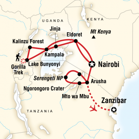 Ultimate East Africa - Tour Map