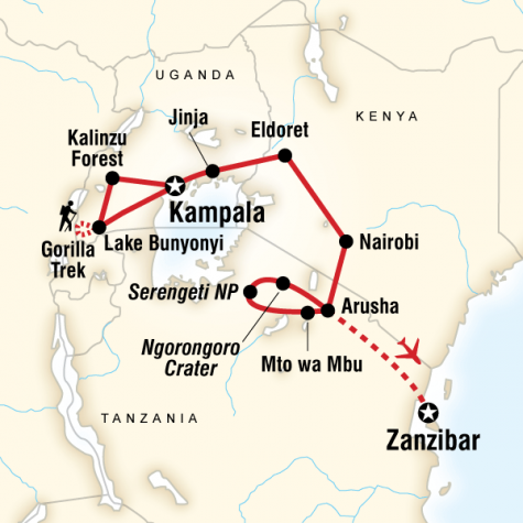 East Africa Overland - Tour Map