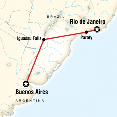 Brazil & Argentina on a Shoestring - Tour Map