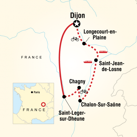 Burgundy River Cruise Adventure - Southbound - Tour Map