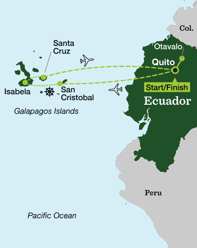 Galapagos Islands & Otavalo Highlands Multisport - Tour Map