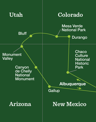 Four Corners Hiking – Discover the American Southwest - Tour Map