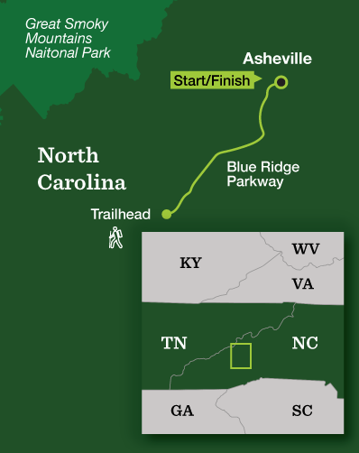 Great Smoky Mountains Backpacking – Blue Ridge Parkway - Tour Map