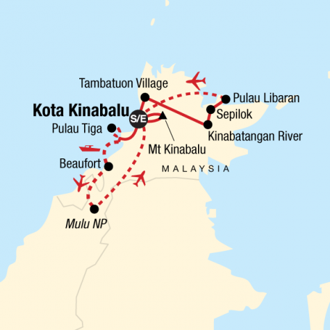 Borneo & Mt Kinabalu Encompassed - Tour Map
