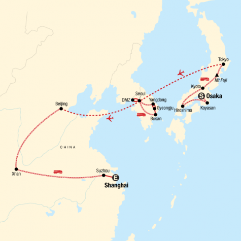 Highlights of East Asia: Japan, South Korea, and China - Tour Map