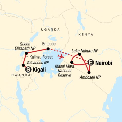 East Africa Gorilla & Safari Experience - Tour Map