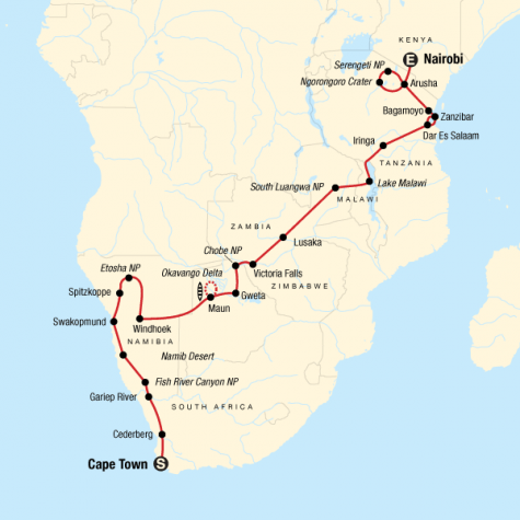 Cape Town to the Serengeti - Tour Map
