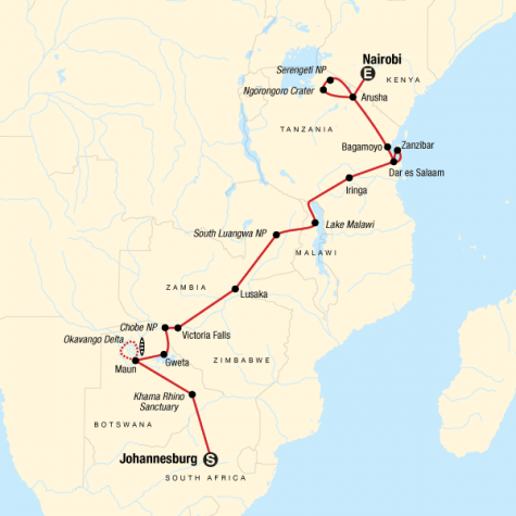 Falls, Beaches & Serengeti Adventure (Northbound) - Tour Map