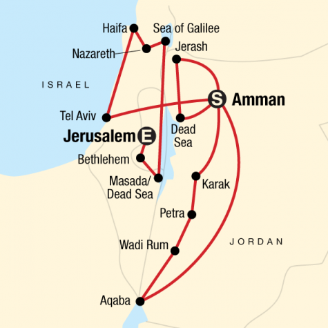 Jordan and Israel Adventure - Tour Map