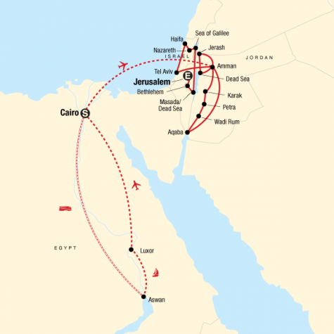 Best of Egypt, Jordan and Israel - Tour Map