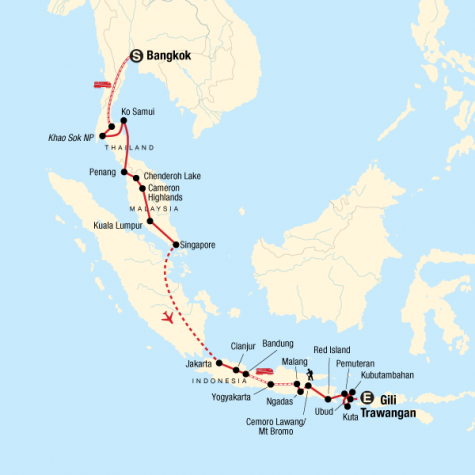 Bangkok to Bali Adventure - Tour Map