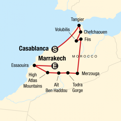 Highlights of Morocco - Tour Map