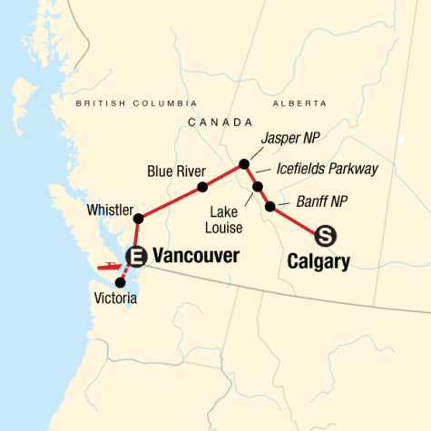 Discover the Canadian Rockies - Westbound - Tour Map