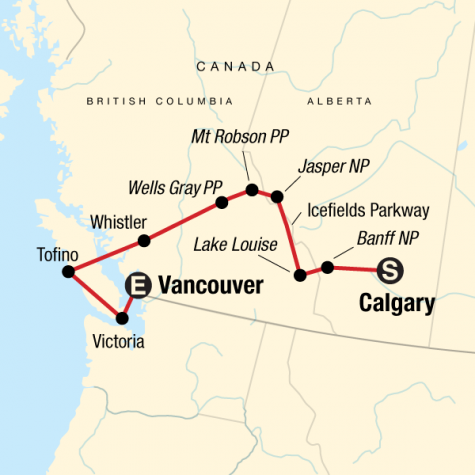 National Parks of the Canadian Rockies Westbound - Tour Map