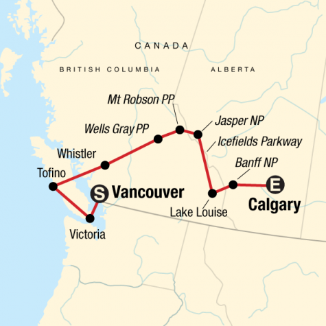 National Parks of the Canadian Rockies Eastbound - Tour Map