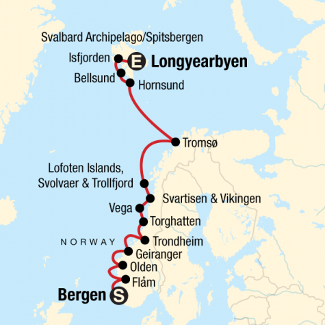 Norwegian Fjords & Arctic Discovery - Tour Map