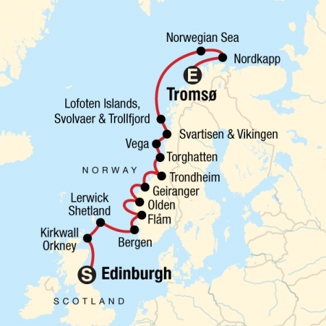 Scottish Islands & Norwegian Fjords - Edinburgh to Tromsø - Tour Map