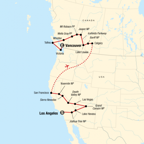 West Coast Discovery – US & Canada - Tour Map