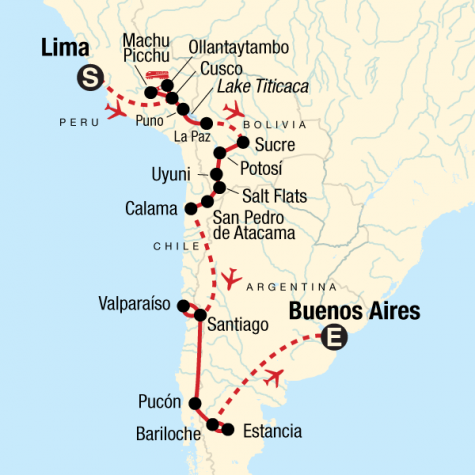 The Scenic Route - Lima to Buenos Aires - Tour Map
