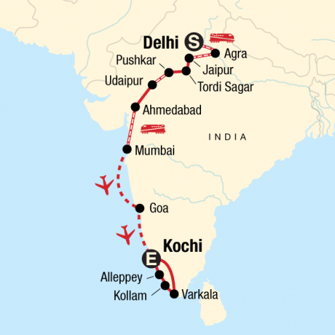 North to South India on a Shoestring - Tour Map