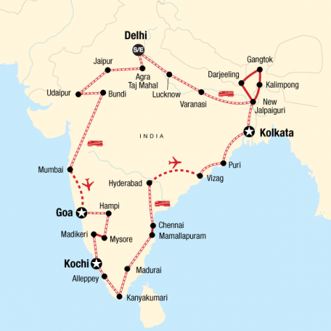 Ultimate India by Rail - Tour Map